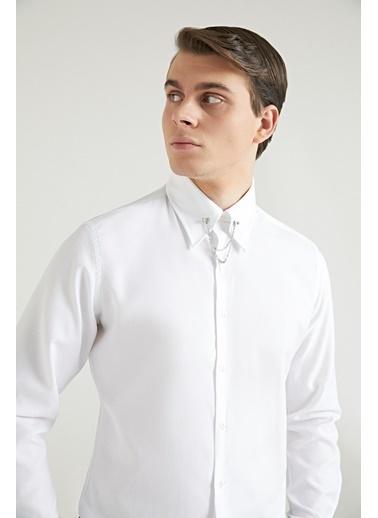 TWN Slim Fit Armürlü Yaka Iğneli Gömlek Beyaz